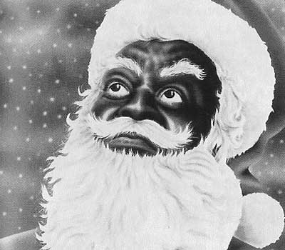 Black Santa....listening to a little James Brown while he cruises the sky droppin off gifts to the little ones.....