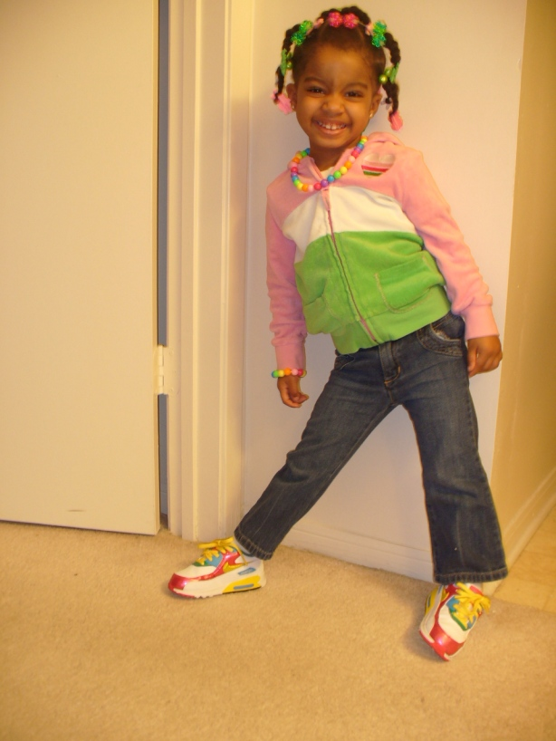 Don't think my kids don't keep a mean shoe game!! Here's Maya fresh with a pair of Air Max 90's!