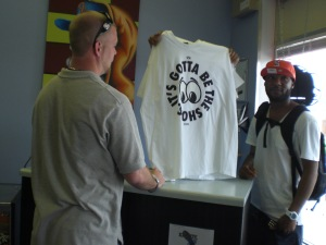 "FIRST SALE!!! Shout to Jake who came thru early and was our first sale. He picked up a 10-Deep ""Gotta Be the Shoes"" tee"