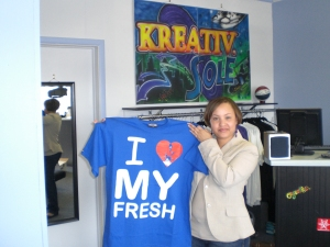 "My lovely homegirl Trudye came thru and picked up the blue ""I LOVE MY FRESH"". When I asked her if the shirt was for her man or if she was gonna rock it as a bedtime tee....all she did was wink :)"