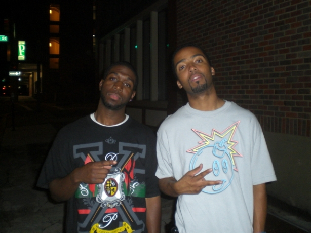 the homie Kendall (ktims510) and teeLARGE (@kreativsole) posted up outside Crossroads club